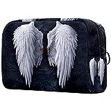 Neceser de Viaje para cosméticos Bolsa de Maquillaje con Cierre de Cremallera portátil Diaria,alas de Angel de la Noche Negra