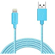 iPhone 7 Charger, iPhone 6 Charger, 6 Ft Long Apple Charger F-color Apple MFi Certified Braided 8 Pin Lightning CableCord for iPhone 7 6S 6 Plus 5S 5C,iPhone SE, iPad Mini 4 iPad Pro Blue