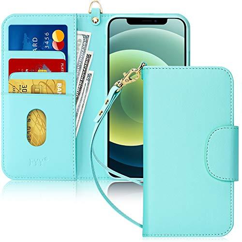 """FYY Etui Coque iPhone 12 Pro Max, [Fonction Kickstand] Étui en Cuir PU pour Portefeuille avec [Fentes pour Cartes] et [Pochettes] pour Apple iPhone 12 Pro Max 6.7"""" 2020 Menthe Verte"""