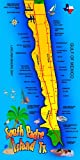 South Padre Island TX Map Beach Towel - 30x60