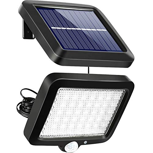 Solarlampen für Außen mit Bewegungsmelder, Boomersun 56 LED 3 Modi Solarleuchten Teilbare Wandlampe, IP65 Wasserdichte, 120° Superhelle Solarleuchten mit 16.5ft Kabel (1 Stk)