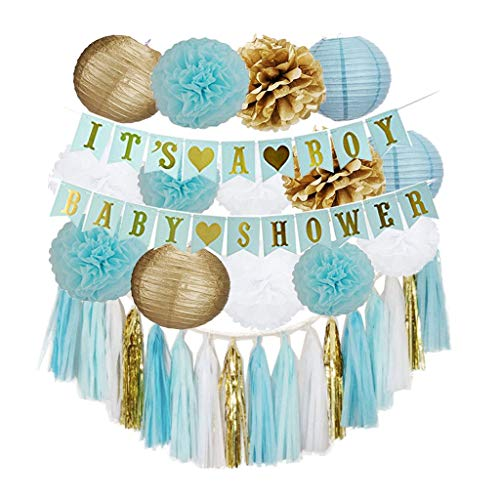 Decoración de cumpleaños Abanicos de Papel Flores Pompom Bolas de Nido de Abeja Guirnaldas Banderas Triangulares Ducha Home Party Supplies Decoración (Color : Blue)