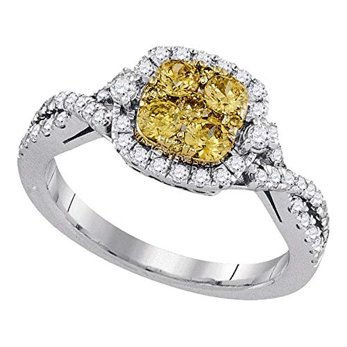 Solid 14k White Gold Round Natural Canary Yellow Diamond Square Cluster Engagement Wedding Anniversary Ring Band 1.00 Ct. - Size 6.5
