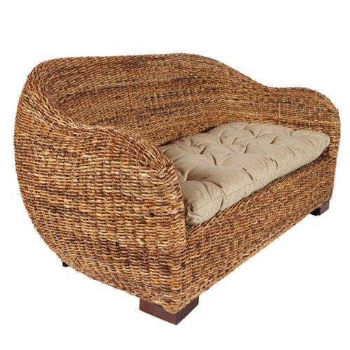 Rotin Design Rattansofa AZUR - Korbsofa - inkl. Sitzpolster - Massivholzfüße - Braun - 5