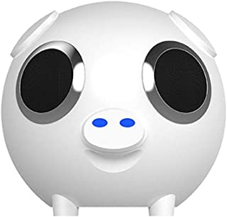 TDCQQ Bluetooth Speaker,Wireless Bluetooth 4.0 Touch Speakers with 2 * 5W HD Sound and Bold Bass,Handsfree,Cute Pig Mini Speaker,Wireless Speaker for Home,Outdoors,Travel,Black (Color : White)