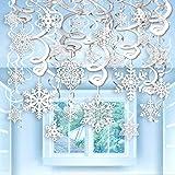 Qpout 40 Teilige Weihnachten Winter Girlande Schneeflocken, Schneeflocken-Spiralen Hänge-Deko Deckenhänger Spiral Schneehänger,Neujahr Weihnachten Dekoration Eiskönigin Party Schneeflockendeko
