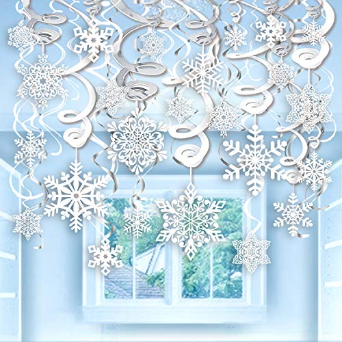 40pcs Snowflake Swirls Decoration, Konsait Merry Christmas Snowflake Hanging Swirls Garland Foil Ceiling ornaments for Xmas Winter Wonderland Holiday Party Decor Supplies,Already Assembled