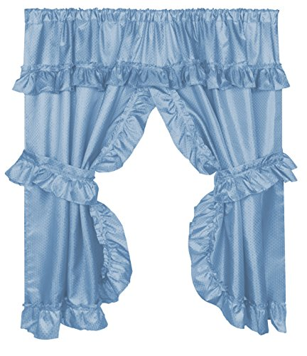 Carnation Home Fashions FWCD-L/01 Lauren Curtain with Ruffled Valance, Light Blue