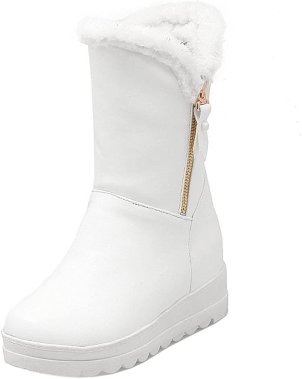 RizaBina Women Comfort Low Flats Snow Boots Pull On with Zip