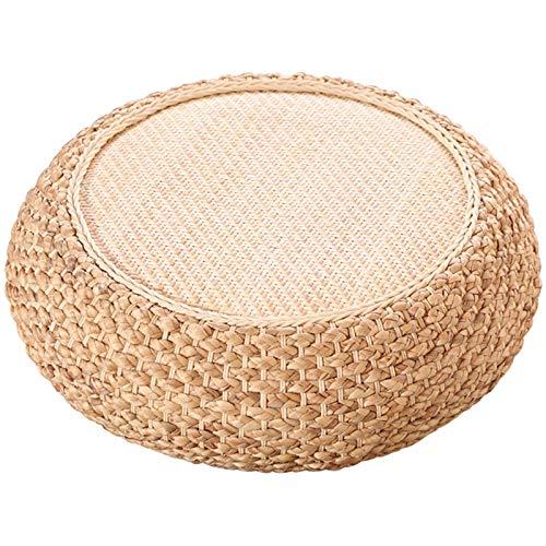 Bove Handmade Pad Tatami Pouf Meditation Pillow For Floor Yoga Seat Pillow Straw Knitted Soft Yoga Mat Meditation Cushion-A-60x60x17cm(24x24x7inch)