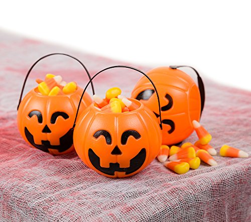 Pumpkin Mini Buckets 24 Pack - Halloween Trick or Treat Bags for Party Favors Jack-O-Lantern