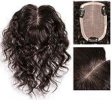 9 x 14 cmリアルヘアクラウンとシルクのヘアピース抜け毛のある女性のためのヘアカーリーのリアルなヘアスタイル(25cmダークブラウン)