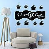 Zdklfm69 Adhesivos Pared Pegatinas de Pared Creative I Love Coffee Vinilo Autoadhesivo Impermeable Impermeable decoración de Fiesta en casa Papel Tapiz 54x74cm