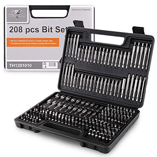 208 Piece Screwdriver Bit Set Security Bit Chrome Vanadium Steel Professional Ended Screw Tools Box by WULFPOWERPRO