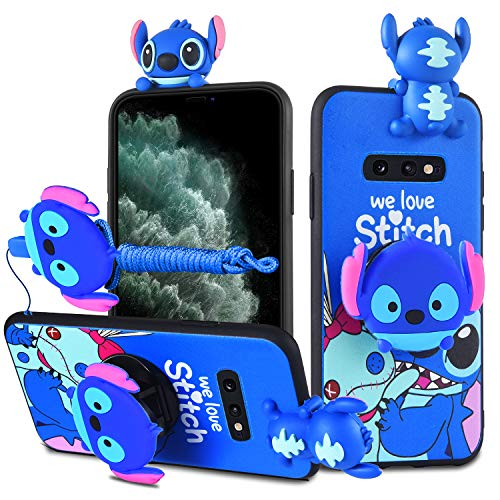 HIKERCLUB Galaxy S10 Plus Case Stitch 3D Cartoon Case with Pop Out Phone Stand Grip Holder and Detachable Long Lanyard Neck Strap Band Soft Lovely Case for Children Kids Girls (Blue, S10 Plus)