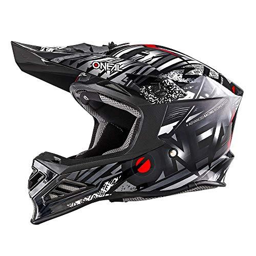 O'NEAL | Casco de Motocross | Motocicleta MX Enduro | Innovadora y Ligera Carcasa Exterior de Fibra de Vidrio, Doble Cierre de Seguridad D | Casco 8SRS Synthy | Adulto | Negro | Talla XL (61/62cm)