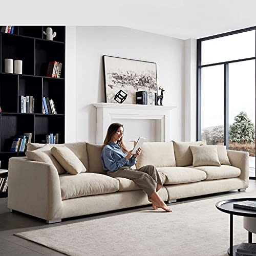 Mario CAPASCA 3 4 5 6 Seater Feathers Sofa - Modern upholstered, Water Resistant Sofa Couch for Living Room, Lounge (6 Seater, Beige)