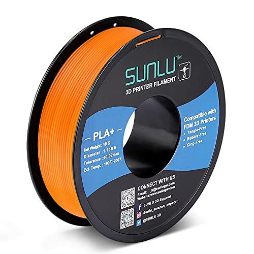 SUNLU PLA+ Filament 1.75mm for 3D Printer & 3D Pens, 1KG (2.2LBS) PLA+ 3D Printer Filament Tolerance Accuracy +/- 0.02 mm, Orange