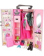 Miunana 44 Accesorios: Armario + 8 Ropas Vestidos + 10 PCS Zapatos para Muñeca Chica + 2 Ropas Vestidos + 2 PCS Zapatos para Muñeca Chico + Maleta + 10 Accesorios + 10 Percha
