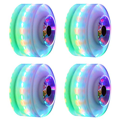 CALIDAKA 4pcs/Set Roller Skate Wheels, Luminous Light Up Skateboard Wheels, Quad Rollerskate Wheels with Bearings Replacement Inline Skate Wheels for Double Row Skating and Skateboard