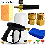 Scuddles Foam Cannon | Foam Lance | Pressure Washer | Upgraded 2021 Model for Cars Full Kit Includes 3 Micro Fiber Towels and Sponge for Detailing Cars Or SUVS Pressure Washer Mega Set