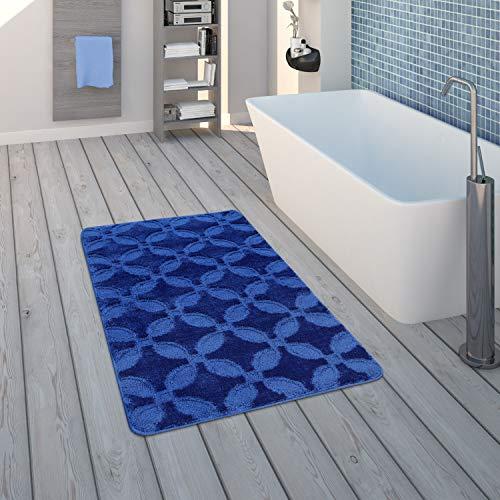 Paco Home Tapis De Bain, Tapis À Poils Ras pour Salle de Bain Uni Antidérapant, Bleu, Dimension:70x120 cm