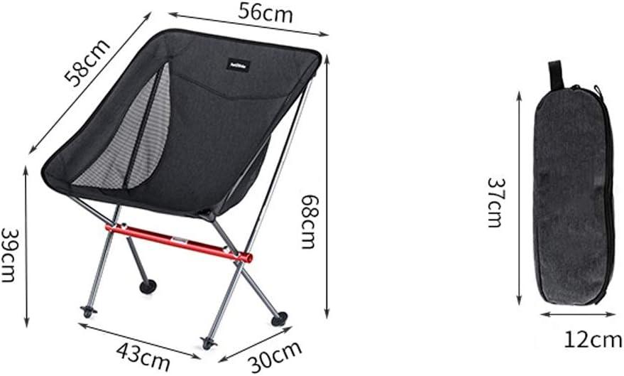 Chaise Longues Portable Camping Pliant Chaise Ultra-léger La Pêche Plage Petit Tabouret Jardin Chaise De Repos, 2 Couleurs (Color : Gray) Black