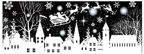 dpr. Fensterbild Winter Dorf Bäume Sterne Schneeflocken Rentiere Weihnachtsmann Weihnachten Fenstersticker Fensterdeko Weihnachtsdeko