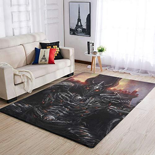 AXGM Alfombra moderna con diseño de calavera vikinga, para salón, dormitorio, pasillo, color blanco, 50 x 80 cm