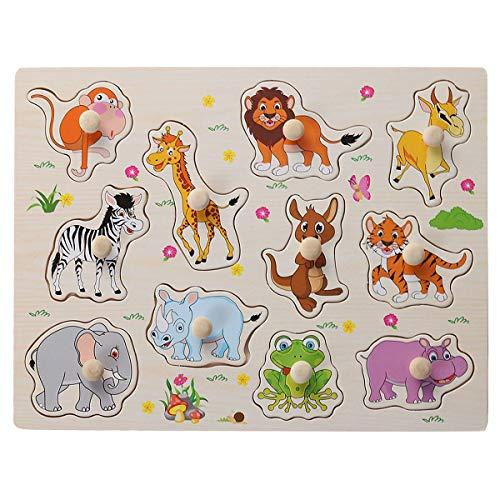 Toyvian Holzpuzzle Tiere Puzzle Board Educational Steckpuzzle Holzspielzeug für Kinder