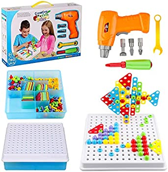 Wondertoys 193 Pieces Mosaic Drilling Toy with Screwdriver Tool Playset