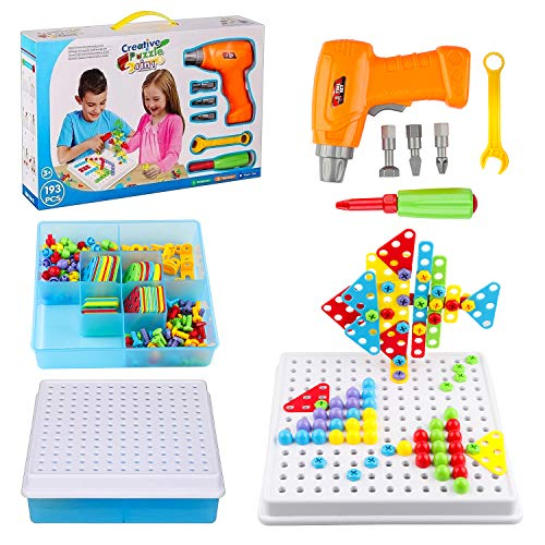 Wondertoys 193 Pieces Mosaic Drilling Toy with Screwdriver Tool Playset STEM Toys, Electric DIY Drill Creative Mosaic Educational Set, 3D Construction Engineering Building Blocks for Toddlers