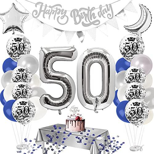 Adultos Decoración de Fiesta,decoracion 50 cumpleaños mujer,globos 50 cumpleaños,látex para Hombres y Mujeres Decoraciones,Clásico Decoración de Cumpleaños,Decoración de Fiesta de cumpleaños (A)