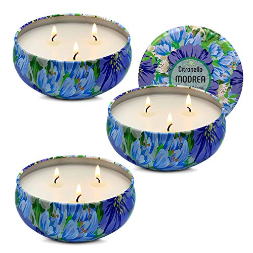 MODREA Mosquito Candles Outdoor Scented Citronella, Natural Soy Wax Bug Away Candles, Big Portable Travel Tin 3 Multiple-Wick Candles