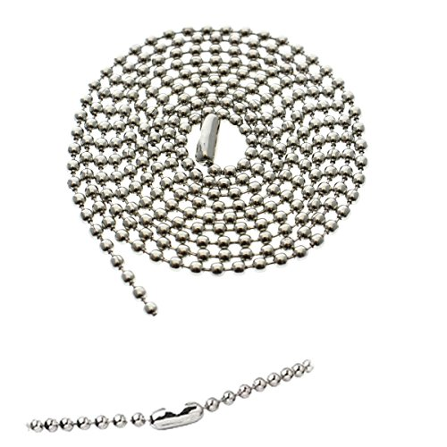 5 Pack - Anti Corrosion Nickel Plated Beaded Neck Chain ID Badge Holders - 36 Inch Long Adjustable Length Steel Necklace Lanyard - Great for Police Badges and Military Dog Tags by Specialist ID