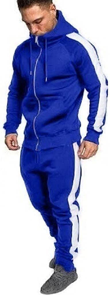 Mens 2 Piece Hooded Zipper Sweatsuits Set Casual Warm Athletic Sport Jogging Tracksuit Suit Shirt + Pants Outfit