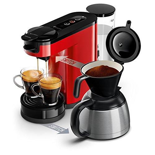 Philips HD6592/81 SENSEO Switch 2 en 1 - Cafetera de monodosis (máquina de café y filtro), color rojo