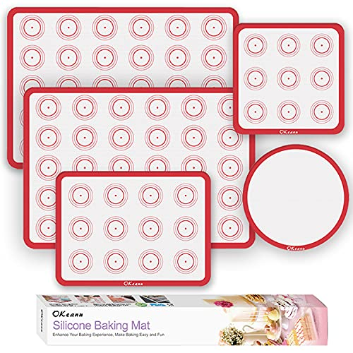 Silicone Baking Mats - Nonstick Baking Mat Set of 5 - 2 Half Sheets (16.5' x 11.6') + 1 Quarter + 1 Round & 1 Square Silicone Mats - Reusable Bakeware Mats for Cookies, Pastry, Bread, Bun, Fondant