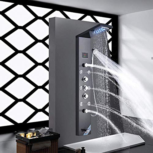Shower Panel Shower Tower System Wall Mounted Rainfall Waterfall Head Rain Massage Stainless Steel Shower Fixtures with Adjustable Body Jets Tub Spout&Handheld Shower Hand Oil Rubbed Bronze