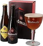 Confezione di Birra -WESTMALLE- due Bottiglie 33 cl Dubbele Tripel + Bicchiere