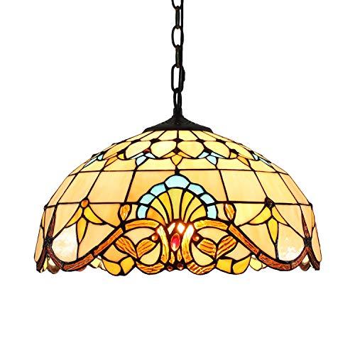 Lámpara de techo estilo Tiffany de 16 pulgadas, estilo europeo Tiffany estilo barroco, colgante retro creativo dormitorio restaurante clásico luz salón iluminación decorativa Hanging luz