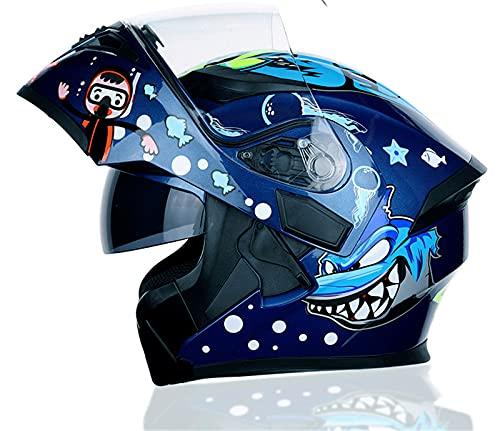 YXST Casco Motocross,Casco Traspirante Ece Omologato,Scooter Helmet Ideale L'Anti-Collisione Protegge La Sicurezza Stradale degli Utenti 57-64cm,3,L