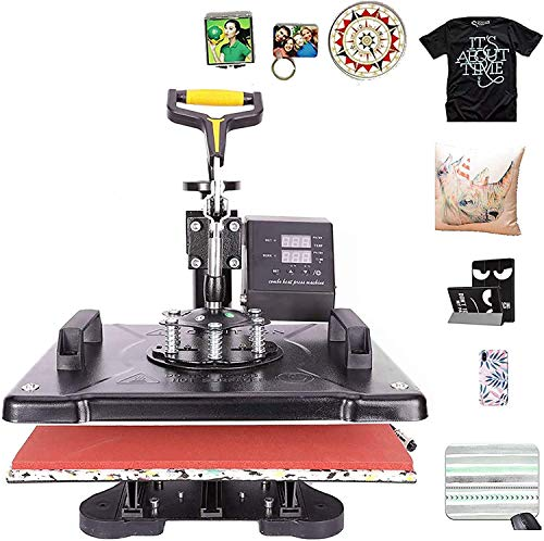 CO-Z 5 in 1 30X38CM Heat Press Dual Digital Control 360 Degree Swivel Heat Press Machine Multipurpose Combo Kit Sublimation Heat Press Machine for T Shirts, Mug, Hat, Plate, Cap