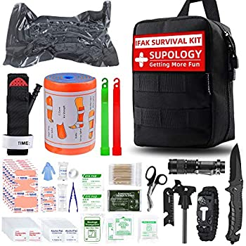 SUPOLOGY Emergency Survival First Aid Kit,135-In-1 Trauma Kit with Tourniquet 36  Splint Military Combat Tactical IFAK EMT for First Aid Response Disaster Home Camping Emergency Upgraded Bag