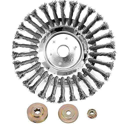 BGTOOL - Spazzola Rotante per Erbacce, con Nodo, in Filo di Acciaio, 25,4 mm x 150 mm, Universale, per Tosaerba Sthil Honda, ECC.