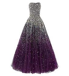 Grape Long Dress with Rhinestones