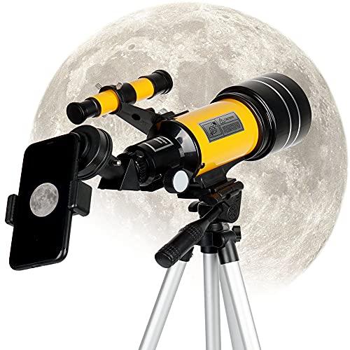 YOCOOL Telescopio astronomico rifrattore 300/70mm per principianti Bambini, Facile da Montare e da Usare con treppiede regolabile 3 Oculari per...