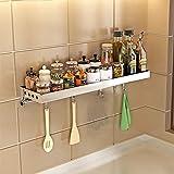 Bastidores de cocina para especias de pared, multifuncionales, ahorro de espacio/con ganchos, acero inoxidable 304, a prueba de óxido, fuerte capacidad de rodamiento/plata/50 x 16 x 10 cm