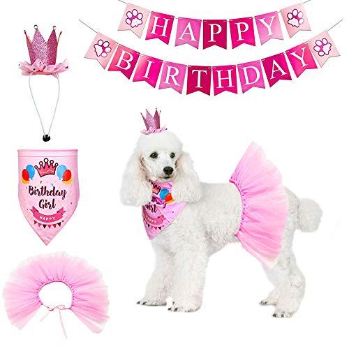 ADOGGYGO Dog Birthday Bandana Girl - Birthday Party Supplies - Pink Tutu Skirt Crown Hat Scarf Happy Birthday Banner Dog Girl Birthday Outfit for Pet Puppy Cat Girl (Pink Crown+Scarf+Skirt+Banner)
