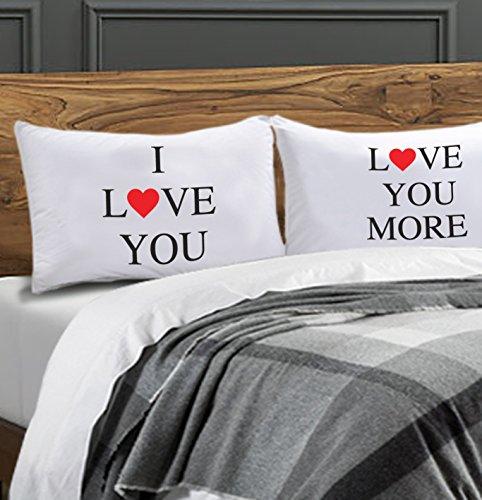 Lady Sandra Home Fashions I Love You Pillow Case Set Includes (2) 20' x 30' Pillowcases I Love You & Love You More